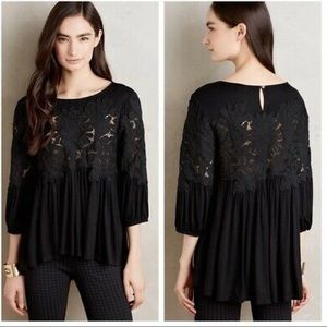 Anthropologie Deletta Desi Black Lace Babydoll Top